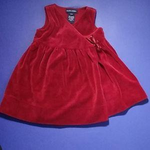 Vintage Ralph Lauren red velour wrap dress sz. 12M